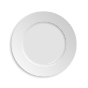 Assiette vide. isolé sur fond blanc.