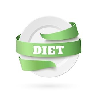 Assiette vide avec ruban vert autour.