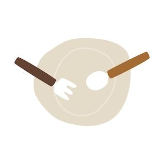 Assiette vide avec le vecteur fourchette et cuillère