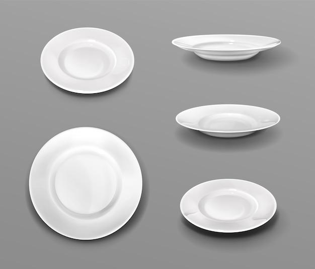 Assiettes blanches, dessus de vaisselle en céramique 3d réaliste et collection vue latérale