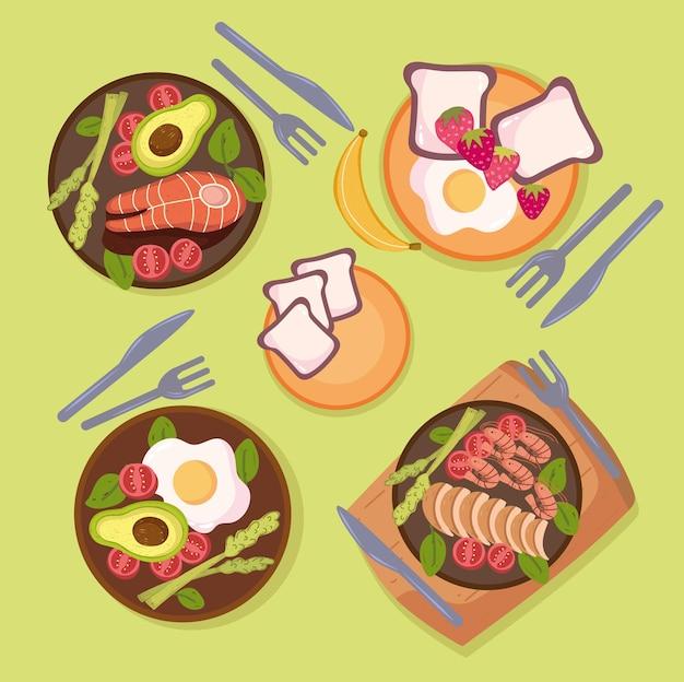 Assiettes de nourriture saine