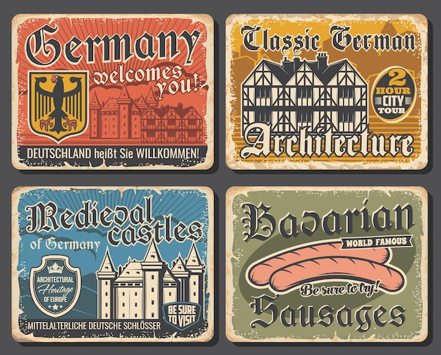 Assiettes vintage de l'architecture de l'allemagne, saucisses bavaroises