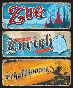 Assiettes vintage des cantons suisses de zoug, zurich et schaffhouse