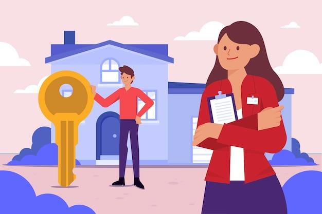 Assistance d'un agent immobilier design plat avec clé