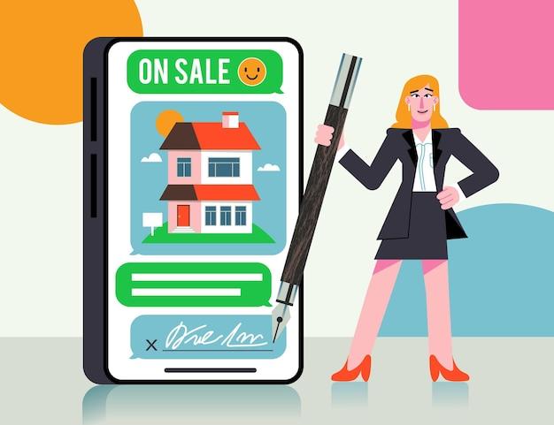 Assistance d'un agent immobilier design plat avec femme et stylo