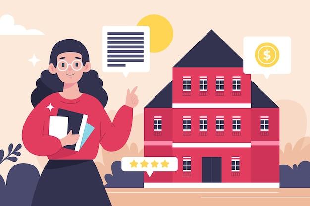 Assistance d'un agent immobilier design plat avec femme