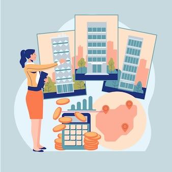 Assistance d'un agent immobilier design plat