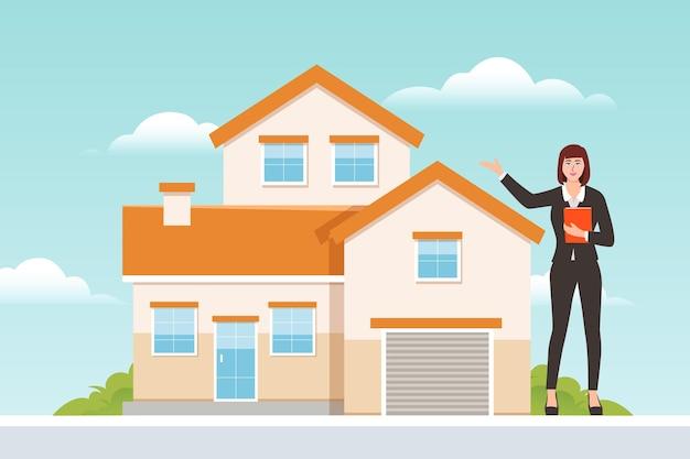 Assistance agent immobilier femme d'affaires