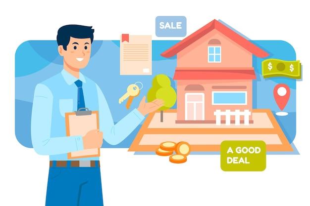 Assistance de l'agent immobilier avec l'homme et la maison