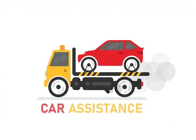 Assistance automobile sur blanc