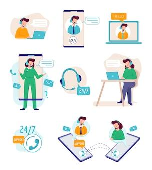 Assistance en ligne. assistant virtuel parlant avec des agents techniques centre d'appels de soutien aux entreprises. illustration support service d'aide, client d'assistance en ligne