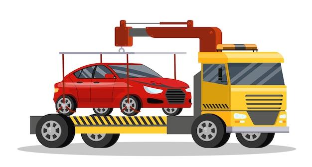Assistance routière avec voiture borken dessus. transport de dépanneuse au service de réparation. illustration