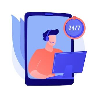 Assistance toute la journée, assistance 24h / 24, centre d'appels 24h / 24. aide aux abonnés, service d'aide. personnage de dessin animé d'opérateur d'appels téléphoniques et de messages.