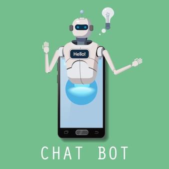Assistance Virtuelle Robot Sur Smartphone Vecteur Premium