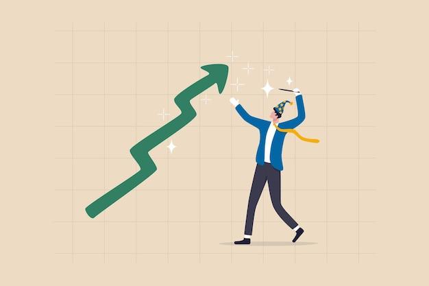 L'assistant de la bourse, le commerçant d'expertise tirent profit de la crypto ou du bitcoin, utilisant la magie pour s'enrichir comme un concept miracle, l'assistant d'investissement d'un homme d'affaires utilisant une baguette magique pour faire monter le cours des actions.