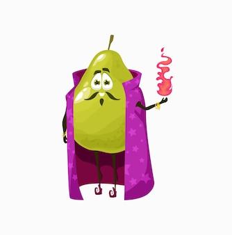 Assistant de fruits poire goyave pomme avec feu de verre magique dans les mains, cape ikn de personnage de dessin animé isolé. poire exotique verte drôle de vecteur avec le visage, sorcier de fée d'émoticône souriant, nourriture mignonne d'enfants d'enfants