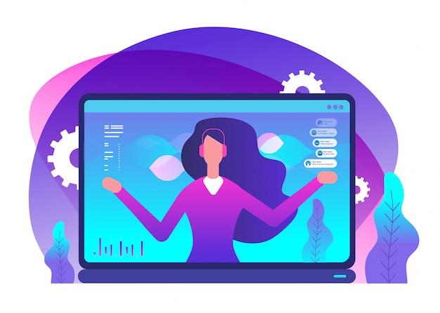 Assistant en ligne dans l'illustration d'un ordinateur portable