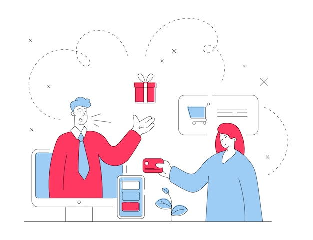 Assistant en ligne offrant un cadeau au client
