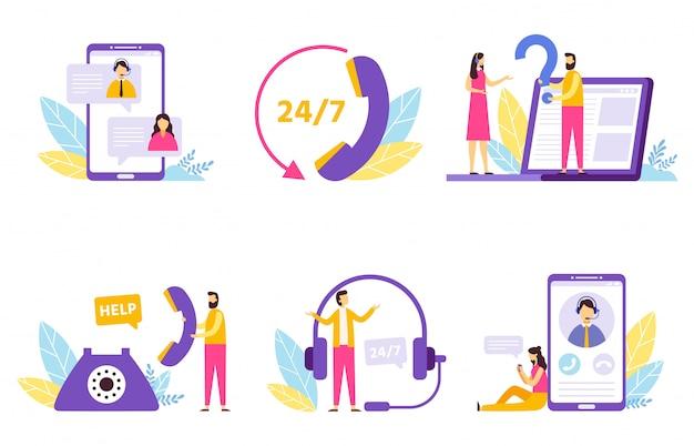 Assistant en ligne. service d'assistance technique virtuelle, assistance personnelle et ensemble d'illustration de communication d'opérateur de hotline
