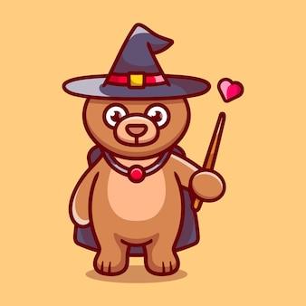 Assistant ours mignon halloween avec chapeau, cape, amour et baguette