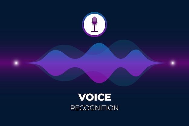 Assistant personnel et bouton de microphone concept de reconnaissance vocale avec ondes sonores dégradées lumineuses