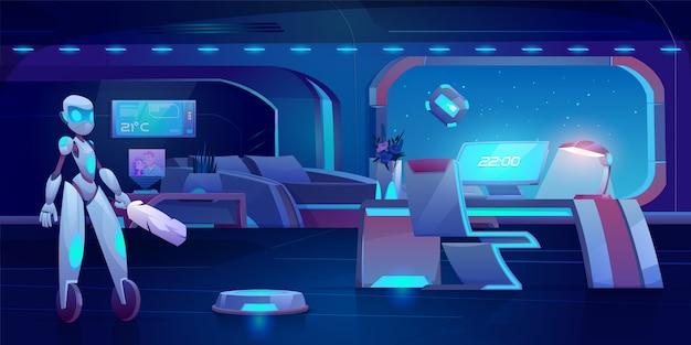 Assistant robot, aspirateur automatique et nettoyeur de vitres dans une chambre futuriste avec des meubles lumineux au néon la nuit.