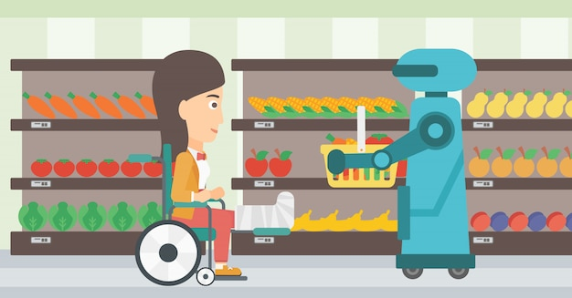 Assistant robotique travaillant dans un supermarché.