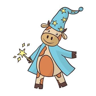 Assistant de taureau mignon de dessin animé dans un imperméable et un chapeau haut de forme avec une baguette magique.