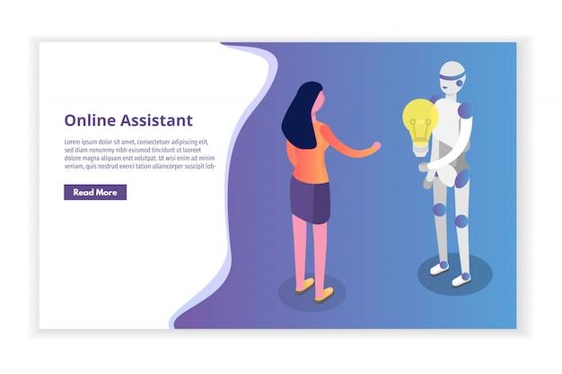 Assistant virtuel en ligne, concept isométrique de chat bot. illustration.