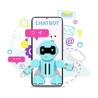 Assistant virtuel robot chatbot illustration vectorielle plane