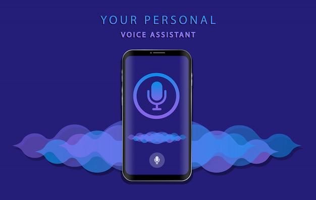Assistant vocal personnel. reconnaissance vocale. app pour smartphone.