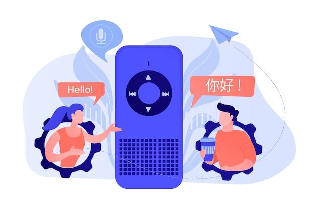 Assistant vocal traduisant en langues étrangères. assistants numériques activés par la voix, prise en charge de la langue des haut-parleurs intelligents, concept d'internet des objets. illustration vectorielle isolée.