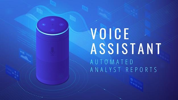Assistant de voix isométrique automatisé illustration de rapport d'analyste