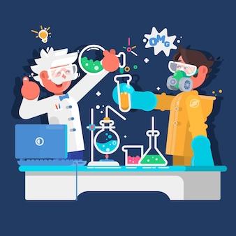 Les assistants de laboratoire travaillent dans un laboratoire scientifique médical chimique ou biologique. illustration vectorielle