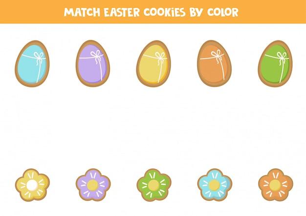 Associez d'adorables biscuits au pain d'épice par couleur. jeu logique.