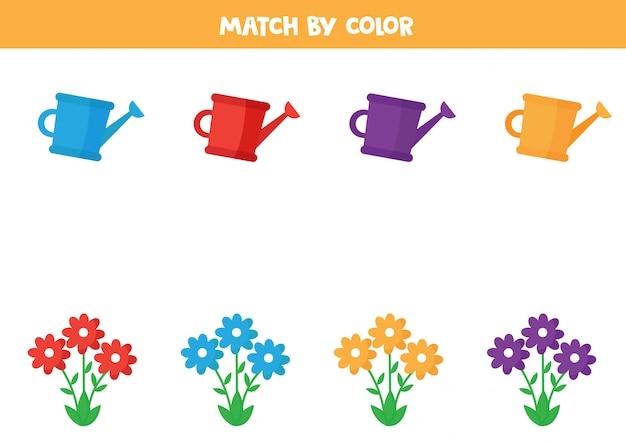 Associez les fleurs et les arrosoirs par couleur.