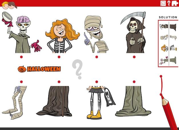 Associez des moitiés d'images avec des personnages comiques d'halloween