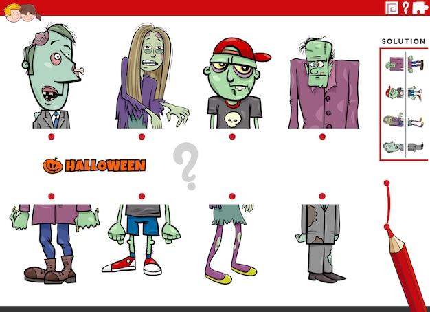 Associez des moitiés d'images avec des personnages d'halloween de zombies comiques