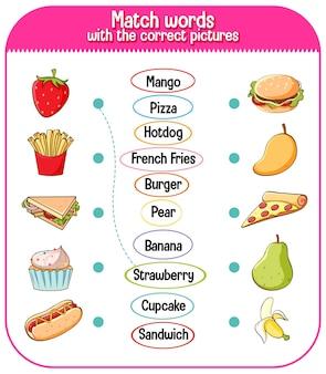Associez les mots avec le bon jeu d'images pour les enfants