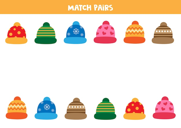 Associez des paires de bonnets d'hiver. feuille de travail pédagogique pour les enfants d'âge préscolaire