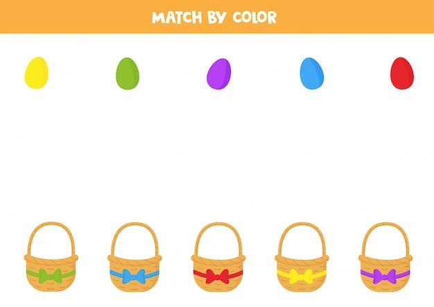 Associez les paniers de pâques et les œufs par couleurs.