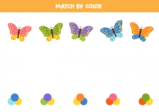 Associez des papillons et des palettes mignons par couleur. jeu logique.