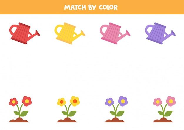 Associez des pots d'arrosage colorés et des fleurs par couleur.
