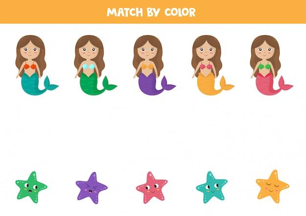Associez les sirènes et les étoiles de mer par couleurs. feuille de travail pédagogique.