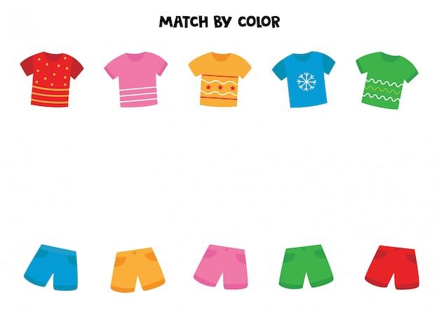 Associez t-shirts et shorts par couleur. jeu pour les enfants.