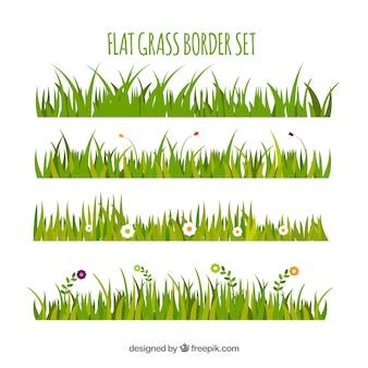 Assortiment de bordures d'herbe plat avec des fleurs colorées