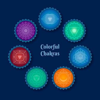 Assortiment de chakras colorés