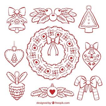 Assortiment de décorations de noël dessinés à la main et couronne de fleurs
