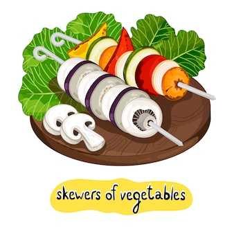 Assortiment de délicieuses brochettes de légumes grillés