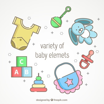 Assortiment de différents articles pour bébés